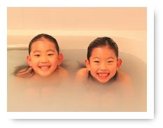 お風呂で笑顔
